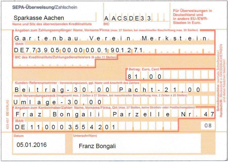 muster berweisung fr 2016 - Uberweisung Muster